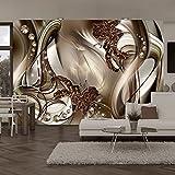 murando - Fototapete 300x210 cm - Vlies Tapete - Moderne Wanddeko - Design Tapete - Wandtapete - Wand Dekoration - Blumen Abstrakt Braun Gold Diamant Blitz a-A-0221-a-b