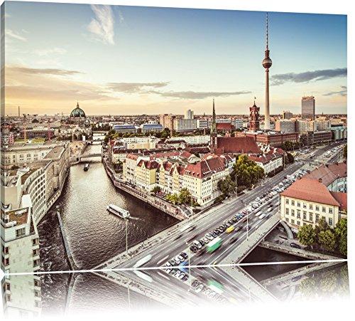 Skyline von Berlin Format: 120x80 auf Leinwand, XXL riesige Bilder fertig gerahmt mit Keilrahmen, Kunstdruck auf Wandbild mit Rahmen, günstiger als Gemälde oder Ölbild, kein Poster oder Plakat