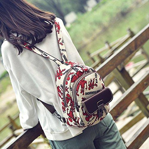 Outreo Zaino Donna Borsello Vintage Backpack Moda Borse in Pelle Ragazza Scuola Borsa Firmate Tablet Bag per Studenti Università Sacchetto Casual Zaini PU Cuoio Tasca Rosso