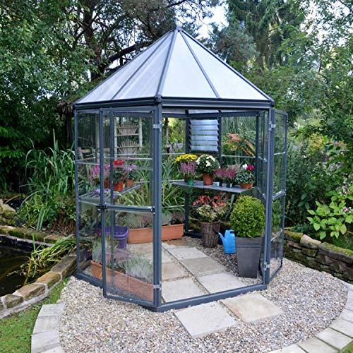 Palram Aluminium Gewächshaus Set Oasis anthrazit // Ø248 cm (LxBxH); Treibhaus & Tomatenhaus zur Aufzucht
