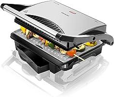 Cecotec Rock'nGrill Parrilla Eléctrica Revestimiento Antiadherente RockStone, Adaptable en Altura, Superficie de cocinado