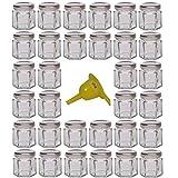 Viva Haushaltswaren G1060047/32T/Silber/X Lot de 32 mini bocaux de confiture avec couvercles argentés 47ml 1 entonnoir de remplissage inclus