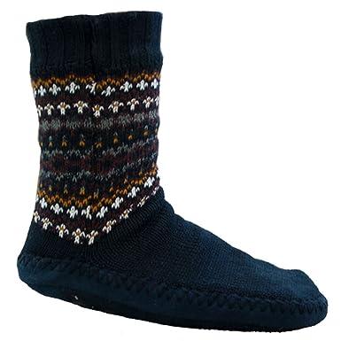 Mens Chunky Slipper Socks Fleece Lined Warm Thermal Fairisle ...