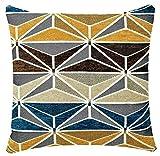 Bullahshah Chenille Abstracto Check Imprimir 17 x 17 pulgadas cojín de felpa para sofá cama (Mostaza Azul Beige)