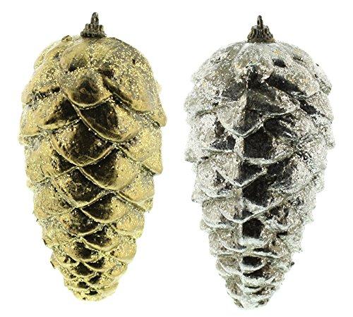 Festive Christmas 18?cm gold Metallic Tannenzapfen 's???2?sortiert -