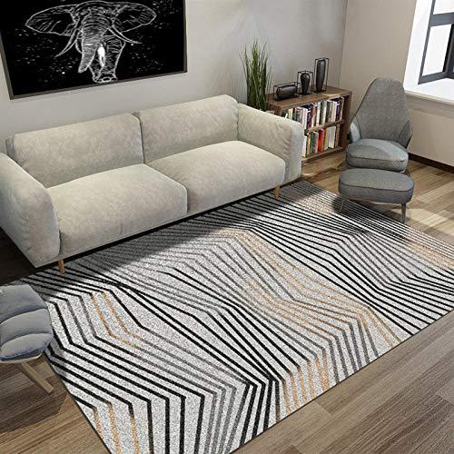 dusg Teppich Modern Trendig Pastell Geometrisches Design Schwarze und gelbe Linien grauweiß 80 × 120CM Wohnzimmer Ausgefallen Kinderteppich Farbkombination Outdoor -
