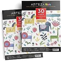 Arteza - Pack de 2 cuadernos para niños con papel de pintar acuarelas (30 hojas de 22,9 x 30,5 cm, grosor de 200g)