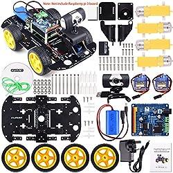 Kuman profesional WiFi inteligente robot modelo kit de coche cámara de vídeo para Raspberry Pi 3RC remoto Control robótica juguetes electrónicos Juego controlado por ordenador Android iOS APP con 8G tarjeta SD (no incluye Raspberry Pi) SM9