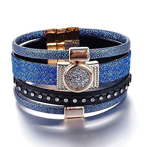 Bracelet Blue Pearls - Bracelet en Cuir Bleu et Noir et