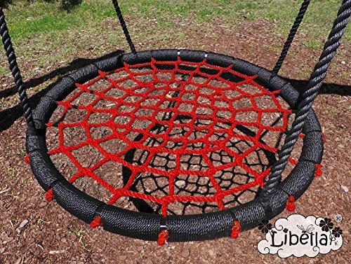 Libella Nestschaukel 100 cm Schaukel Kinder Rundschaukel Tellerschaukel Netzschaukel (Rot)
