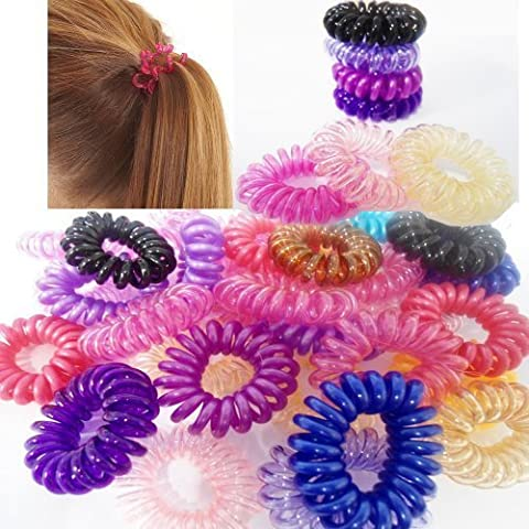 10 X Spiral Random Color Girl's Hair Bobbles Bands Mini Baby Ponytail Elastic Stretchy Hairband