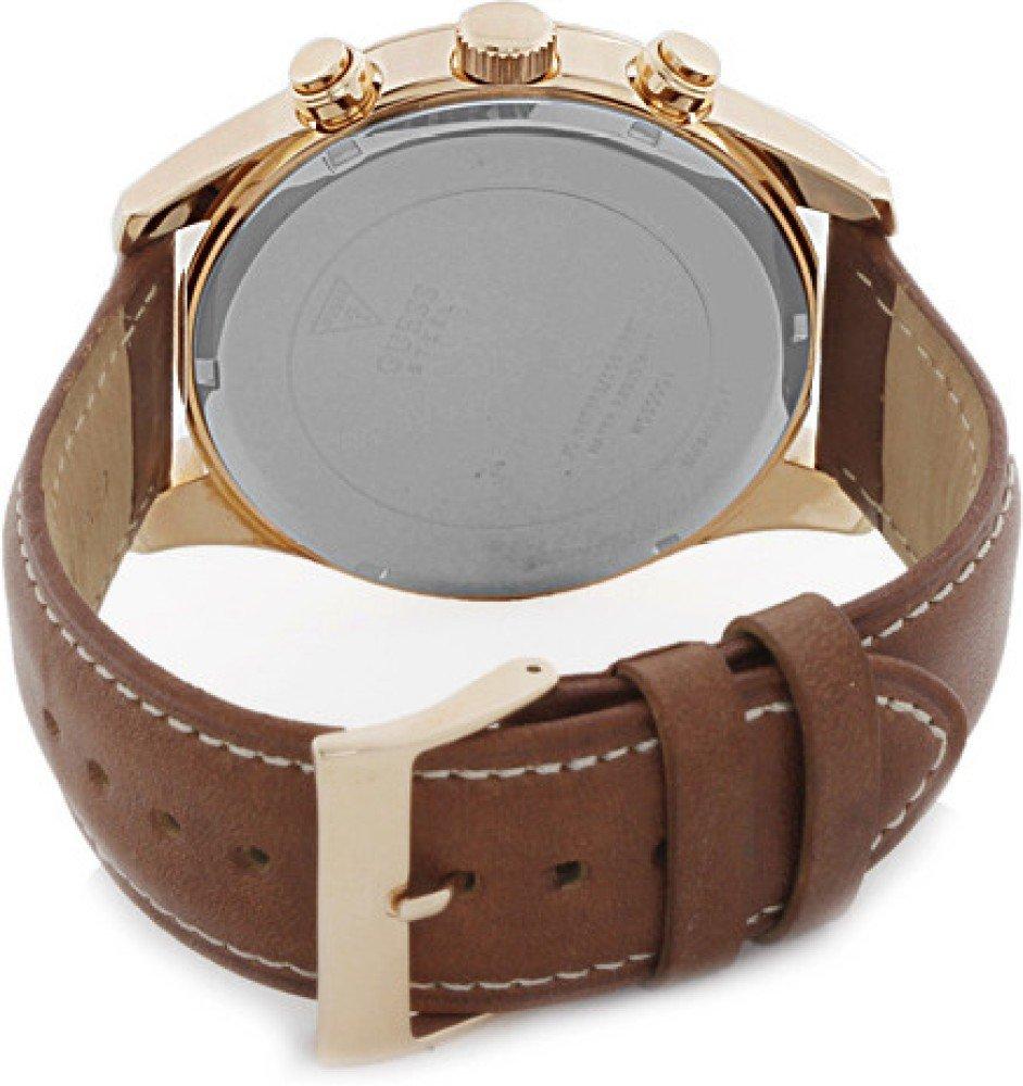 61lZxnMnJjL - Guess Reloj con Correa de Piel, para Hombre W0500G1
