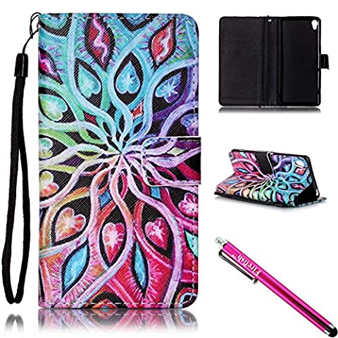 Xperia XA Case, FIREF1SH [Kickstand] [Card/Cash Slots] Lightweight Premium PU Leather Wallet Flip Cover with Wrist Strap for Sony Xperia XA-Colorful