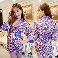 XNWP-Sexy Lingerie sexy donna stampato abiti kimono sexy uniformi tentazioni viola abito (Floreale Vestito Lungo Dal Manicotto Camicia)