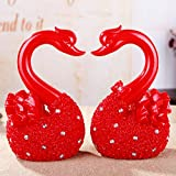 Pareja de resina ornamento boda Cisne rojo hucha ornamentos , sf7174-1 grandes