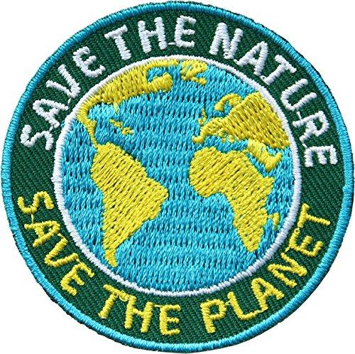 2 x Umwelt Abzeichen gestickt 52 mm / Save the Nature - Save the Planet / Umweltschutz Naturschutz Klimaschutz Natur Nachhaltigkeit Politik / Aufnäher Aufbügler Flicken Sticker Bügelbild Patch