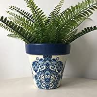 Blue White Damask Design Terracotta Plant Pot 15.5cm