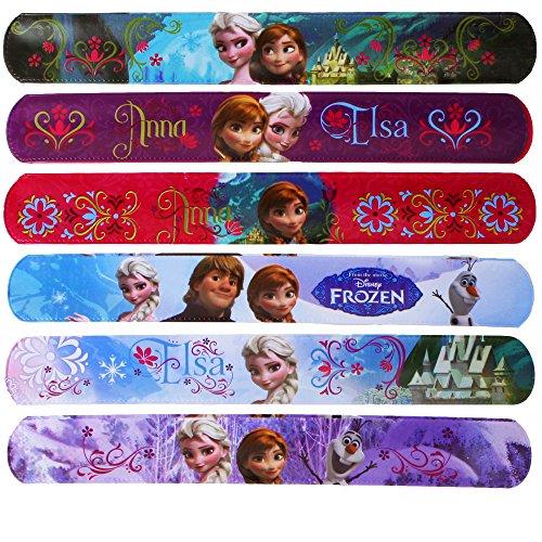 6 verschiedene FROZEN Slap Snap Bands - Die Eiskönigin - Schnapp-Armband - Motiv: Sisters Forever - Anna & Elsa - Disney