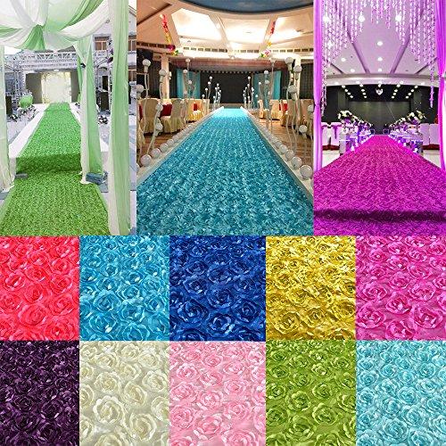 CHENXI Shop 140* 190cm 3D Rose Blume Satin Hochzeit Gang Läufer Teppich Vorhang Hintergrund Party Dekoration - Gang Hochzeit Rot Läufer