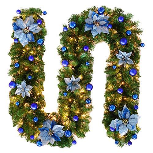 Meilleur Achat Bold Manner Guirlande De Sapin Décoration Nouvel An LED  Lampe Noël Couronne De Fleurs Boule Pour Porte Entrée