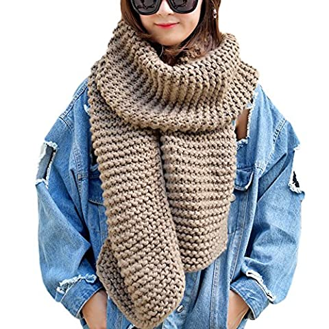 DELEY Unisex Couple Chunky Cable Woollen Knit Warm Thick Infinity Circle Scarf Large Reversible Scarves Long Wraps Shawl Gifts Coffee