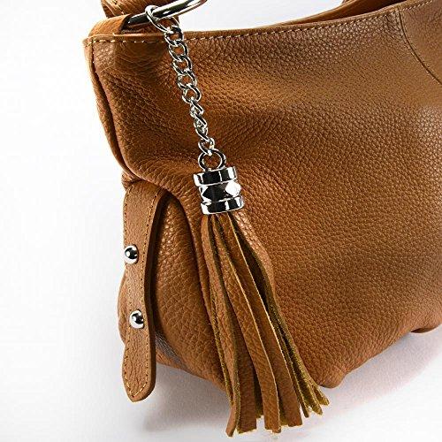 Borsa a mano in pelle donna - Modello Lobé - Borsa a tracolla - 36 x 21 x 10 cm (L x L x A) COGNAC FONCE