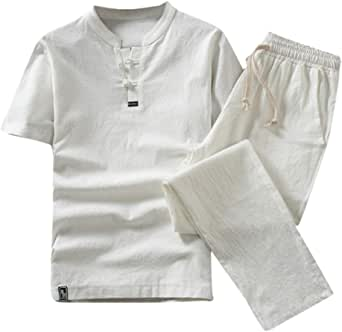 KPILP Men Suit Clearance Cotton Linen Short Sleeve Shorts Slim Fit Comfortable Breathable Pure Color Lightweight Set Suit Tracksuit