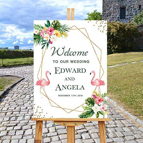 lamingos Holz Hochzeit Willkommensschild Personalisierte Hochzeitsgeschenke für Paare Home Decoration 30 x 30 cm ()