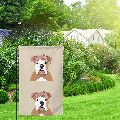 IconSymbol Garden Outdoor Flag Banner English Bulldog Dog with Cut Lines Dog Panel Dog Cut Sew Floral Decorative Weather Resistant Double Stitched 18x12.5 Inch -