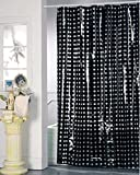 SIDCO Design Duschvorhang Schwarz Badewannenvorhang Wannenvorhang Punkte 180 x 200 cm