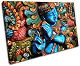 Bold Bloc Design - Lord Krishna Hindu Religion - 90x60cm Canvas Art Print Box Framed Picture Wall Hanging - Hand Made In The Uk - Framed And Ready To Hang