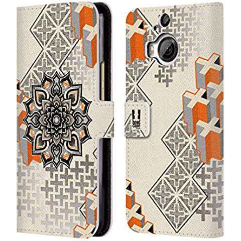 Head Case Designs Mandala E Croce Arte Puntiforme 2 Cover telefono a portafoglio in pelle per HTC One M9+ - Croce Cucita Arte
