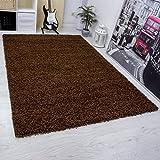 VIMODA Moderner Hochflor Shaggy Teppich, Hoher Flor, Uni Farbe in BRAUN, Strapazierfähig - Ökotex Zertifiziert, Maße: 40x60 cm