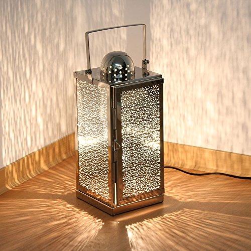 albena shop 75-10 orientalische Lampe Edelstahl Laterne mit Stromanschluss (Asra Gr.L 15,5 x 15,5 x 38 cm)