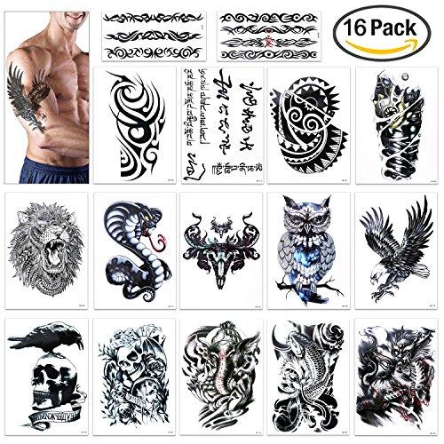 Full Arm temporäre Tattoos, Konsait extra temporär Tätowierung schwarz Tattoo Körperkunst Aufkleber Fake Arm Tattoos Sticker für männer Frauen (16 Blätter)