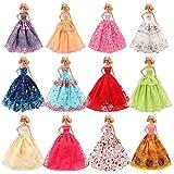 5er Packung Handmade Modisch Hochzeit Party Abendkleid Kleider Kleidung für Barbie Puppe Weihnachten Geschenk Kindertag