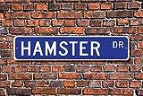 Aersing Stree Deko Schilder Hamster Geschenk Schild Decor Hamster Lover Hamster Expert House Pet Nagetier Metall Wandschild Funny 10x 45cm