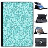 Blumentapete Design Türkis Case Cover / Folio aus Kunstleder für das Apple iPad AIR 2 (2nd Generation)