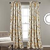 Lush Decor Cynthia Jacobean Verdunkeln Fenster Vorhang Set, Polyester, Gelb/Grau, 84