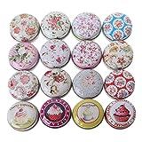 wuweiwei12 kleine Dosen mit Scharnierdeckel, Mini-Macaron-Eisen-Hülle, rund, Lippenstift-Box, Süßigkeiten-Box, Pillendose, Teedose (1 Stück, zufälliger Stil)