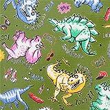 Grünes Wachstuch mit bunten Dinosauriern