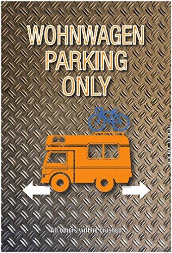 Wohnwagen Parking only blechschild auto motorrad park schild