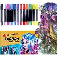 Faburo 12 Piezas Set de tizas temporales para el cabello,plumas de tiza coloridas profesionales para el pelo con cerumen no tóxico
