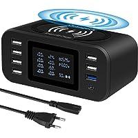 Orangeck Multi USB Ladestation, Ladegerät Mehrere Geräte mit LED Bildschirm Wireless Schnell Charger 10W Induktives…