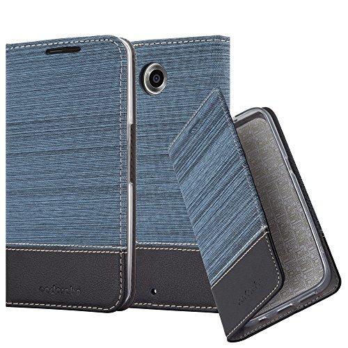 Cadorabo Hülle für Lenovo Google Nexus 6 / 6X - Hülle in DUNKEL BLAU SCHWARZ – Handyhülle mit Standfunktion und Kartenfach im Stoff Design - Case Cover Schutzhülle Etui Tasche Book