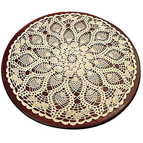 e Häkeldecke Baumwolle Spitze Tischdecke Kleine Tischdecke 60 cm Weiß ()