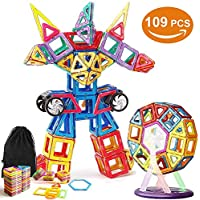 Blocchi Magnetici Arcobaleno di VIDEN 109 pezzi Giocattoli Educativi Kit Includi carte di alfabeto Carte di numero Ferris Wheel Car Wheels Carrying Bag Building Piastrelle