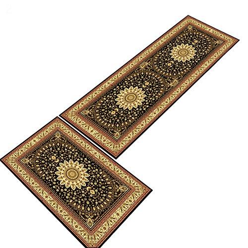 Yeshi Fußmatte, Läufer, elegant, super weich, europäischer Stil, florales Muster, für Badezimmer, Schlafzimmer, Küche, Esszimmer, Wohnzimmer, Polyester, 2#, 50 x 80 cm - Super Scraper