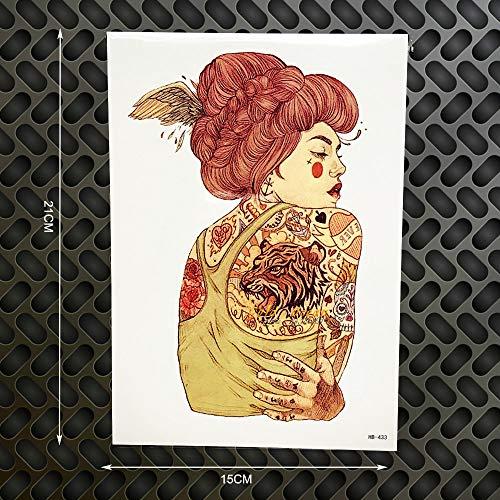 tzxdbh 2 Stücke Frauen wasserdichte Tattoo Body Art Tattoo Aufkleber 21 * 15 cm Tiger wasserdichte Tatoos Selfie Auto Stying Home Decor (Auto-selfie)