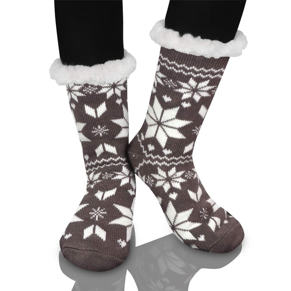 Calcetines de Navidad, Invierno Mujer Gruesos Lana Calcetines Térmicos de Piso Antideslizantes Calcetines de Casa Chicas Interior Regalo de Navidad EU 36-39